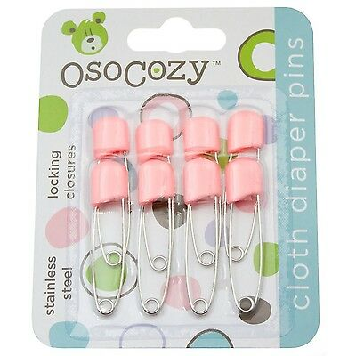 OsoCozy Diaper Pins - {Pink} - Sturdy Stainless Steel Diaper Pins with Sa... NEW