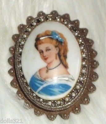 Limoges France signed Brooch,Pendant,Hand Painted Lady in Blue Porcelain Estate