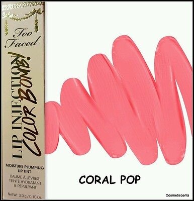 Too Faced Lip Injection Color Bomb! Lip Tint - Coral Pop! Full Size Boxed
