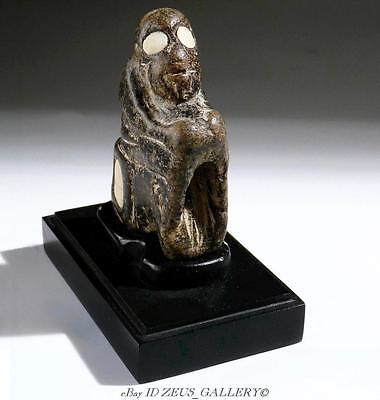 BACTRIAN MONKEY STONE Figure with INLAID ALABASTER EYES RARE Bronze Age 1600 BC