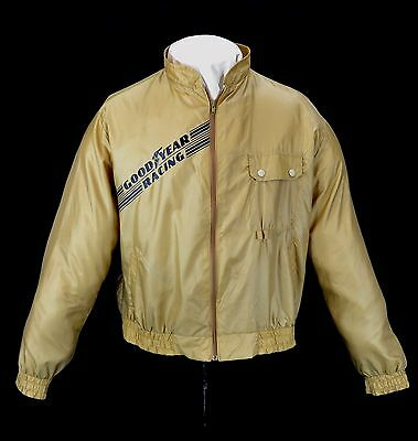 Vintage Goodyear Racing Jacket 1970's Gold Color Light Weight Size X Lg