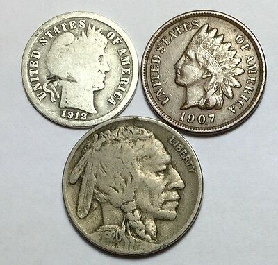 Coin lot w/ Barber dime, Indian Head penny w/ full LIBERTY and 1920 Buffalo 5₵.