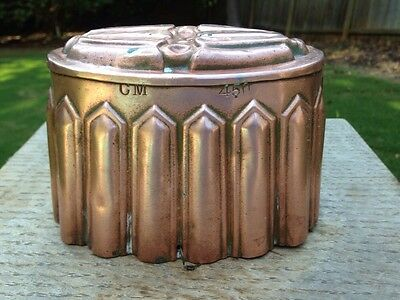 """Victorian 6"""" Antique Gothic Copper Jelly Cake Dessert Mold CM #450 Tin Lined"""