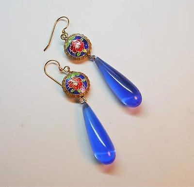 ~GORGEOUS VINTAGE 1960's CHINESE BLUE CLOISONNE' DROP EARRINGS!~ROSES!~