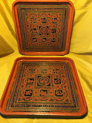 Vtg Pair Nesting Burmese/Myanmar Etched Lacquer Square Trays-Zodiac Week Animals