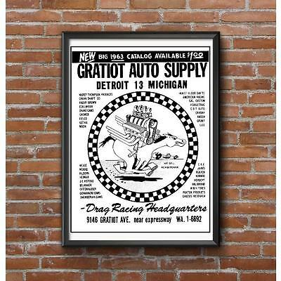 1963 Gratiot Auto Supply Promotional Poster-World's Largest Speed Shop Detroit