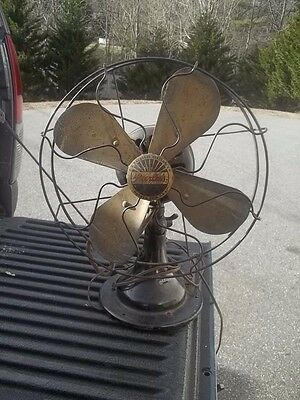 Antique PEERLESS ELECTRIC Brass Blade FAN WITH CAGE ESTATE FIND