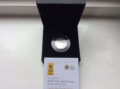 2011 WWF silver proof 50 pence coin with c.o.a
