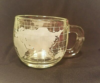 Nestle Nescafe World Cup Mug, Clear Glass Etched World Globe ~ Vintage ~