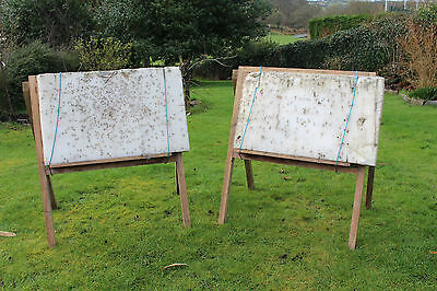 Pair Of Archery Bow H / A Large Frame Stands Very Solid Need New Foam Targets