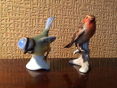 Lovely Vintage Pair of W. Goebel Bird Figures Robin & Blue Titmouse