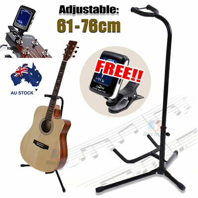 Free Tuner+Folding Electric Acoustic Bass Tripod Guitar Stand GIG Floor Rack AU