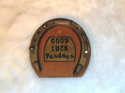 Vintage Cast Iron Horse Shoe Good Luck Pardner Wood Wall Plague