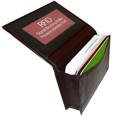 Black RFID Security Safe Leather Gusseted Credit Card ID Business Case Wallet