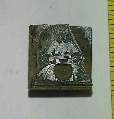 Vintage Letterpress Printing Block Woman Tray of Food serving Rare