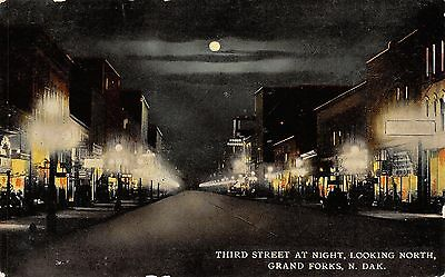 Grand Forks ND Hazy Moonlit Night on 3rd St~Globe Lamps~1912