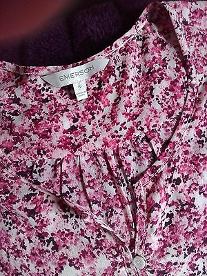 Pink floral 3/4 sleeve top; S8; Light weight; Like new