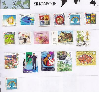 *SINGAPORE.PAGE of USED STAMPS.Lot c.*