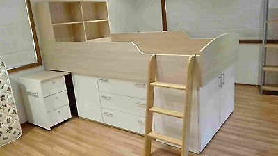 Loft Bed (King Single Bunk) – With Desk & Bookcase