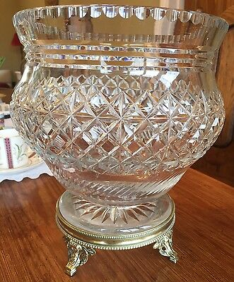 Stunning Webb Lead Crystal Large Fruit Bowl~Brass Stand~Great Condition