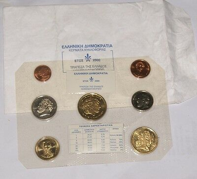 COLLECTION OF UNCIRCULATED PROOF COINS - Full Set Greek 2000 GREECE MINT