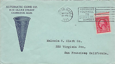 U.S.A. 1931 cover from the Automatic Cone Co. with illustrated envelope