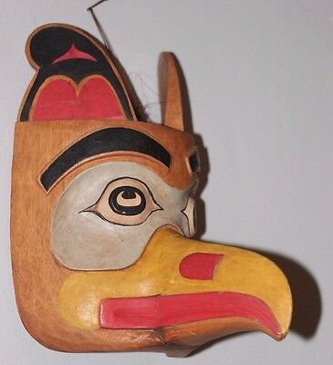 Hand Carved Solid Wood Pacific North West Used Reproduction Thunderbird Mask