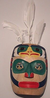 Hand Carved Wooden Pacific North West Reproduction Native American Eagle Mask