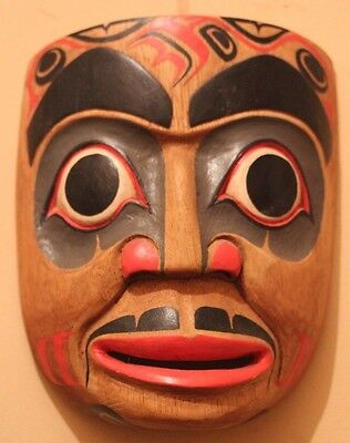 Hand Carved Solid Wood Pacific North West Reproduction Native American Mask