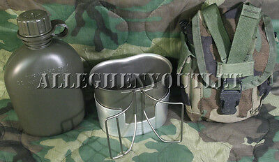 US Military USED Woodland MOLLE Pouch, w / NEW 1 Quart Canteen, Cup & Stove Set