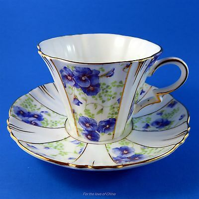Royal Albert Art Deco Blue Pansy Panel Tea Cup and Saucer Set