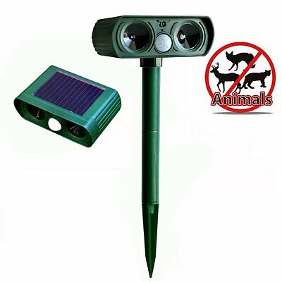 Ultrasonic Solar Powered Pest Animal Repeller Repellent Garden Bat Cat Dog Foxes