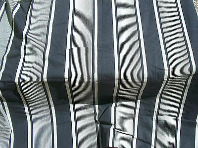Large Panel Vintage French 1930s Striped Ticking Fabric Brittany Blue Indigo Ink