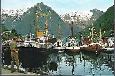 Balestrand, Norway - port, boats on Songnefjord - postcard c.1970s