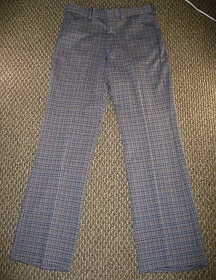 Vintage Mens Hipster Grey Houndstooth Checker Plaid Pattern Polyester Pants NWT