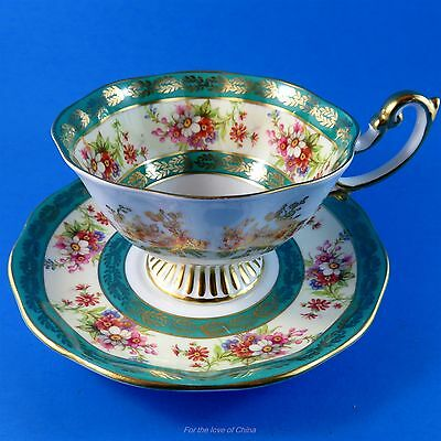 Large Pedestal Ornate Teal with Gold and Floral Royal Albert Tea Cup and Saucer
