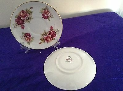 2 x RIDGEWAY QUEEN ANNE SAUCERS WITH RED/PEACH ROSES