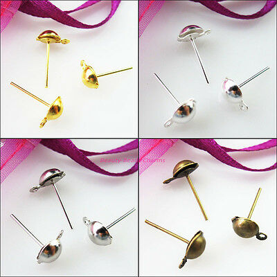4mm 6mm Half Ball Stud Earring Posts Earwire Gold Dull Silver Bronze Plated