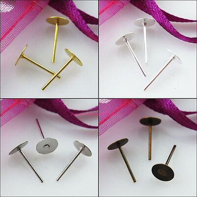 4mm 6mm Flat Round Bank Peg&Post Earring Studs Gold Dull Silver Bronze Plated