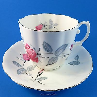 Large Royal Albert Fluted Pink Rose and Gray Tea Cup and Saucer Set
