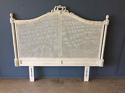 French Louis Rattan Canework Cane Double Bed Headboard Painted Antique White VGC