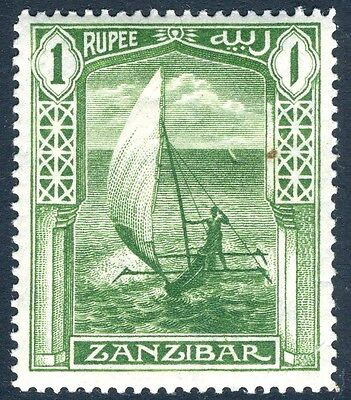 ZANZIBAR-1913  1r Yellow-Green Sg 255 LIGHTLY MOUNTED MINT V14910