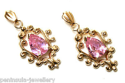 9ct Gold Pink CZ drop earrings Made in UK Gift Boxed