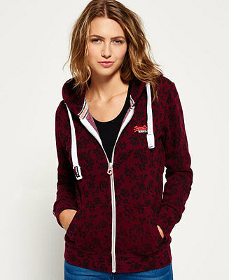 New Womens Superdry O L Aop Primary Ziphood Ornate Floral Port