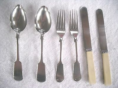 Victorian 1890s James Dixon: 2 x Place Nickel Silver & Ivorine Handled Cutlery.