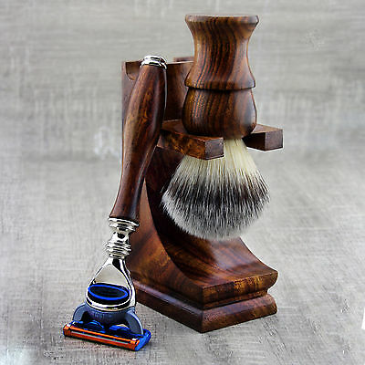 3 PiecesWooden Shaving Set For Men's With Synthetic Hair Brush&Gillette Fusion