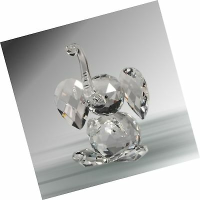 Crystal Sitting Elephant Figurine 2.33 Inches Handcrafted