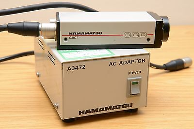 Hamamatsu C3077 (Sony XC-77CE) Microscope CCD Camera and A3472 AC Adapter