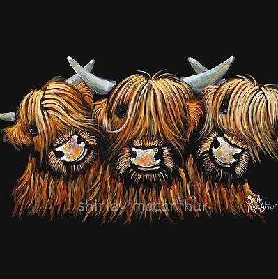 HIGHLAND COW PRINTS of Original Painting 'THE YOUNG ONES' by SHIRLEY MACARTHUR