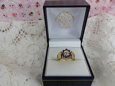 Vintage 9ct Gold Ruby & Diamond Cluster Ring Size N 1/2